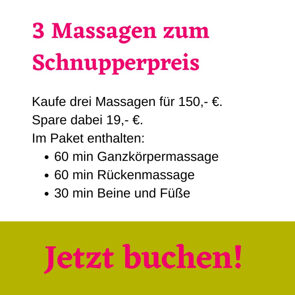 Drei Massagen kennenlernen zum Schnupperpreis von 150 Euro