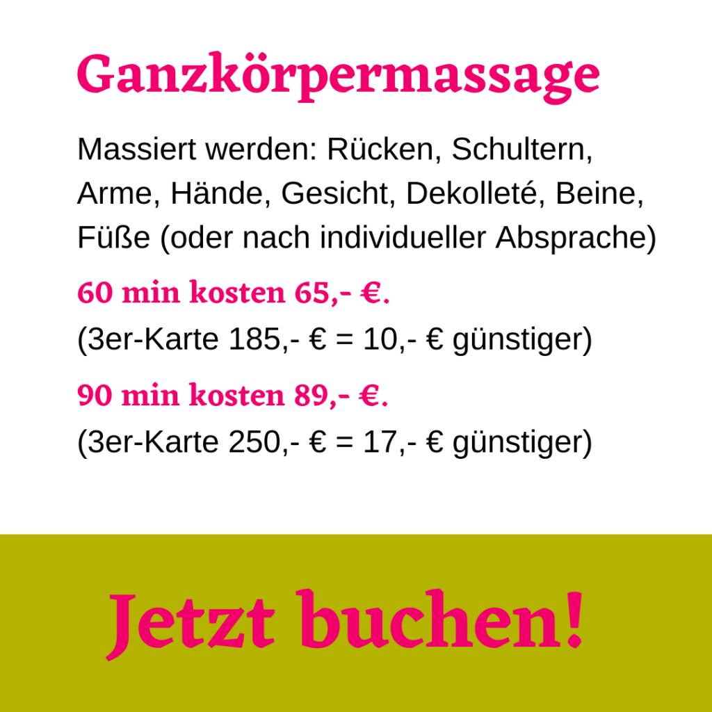 Ganzkörpermassage. 90 min für 89 Euro.