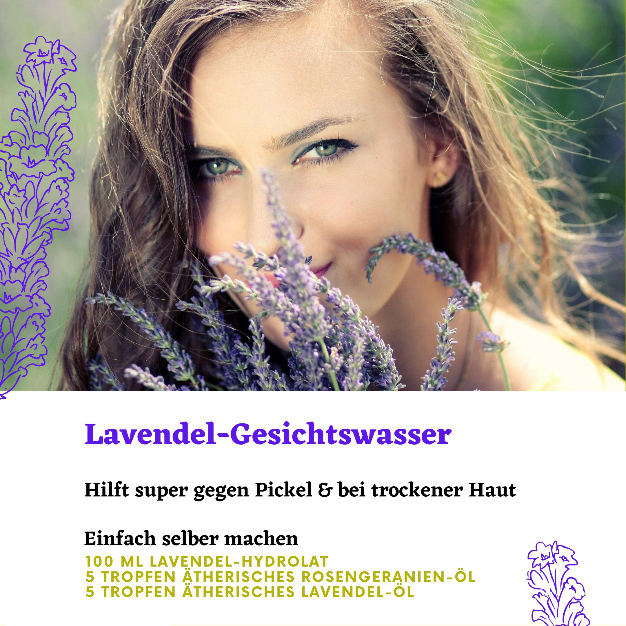 Lavendel-Gesichtswasser gegen Pickel und trockene Haut