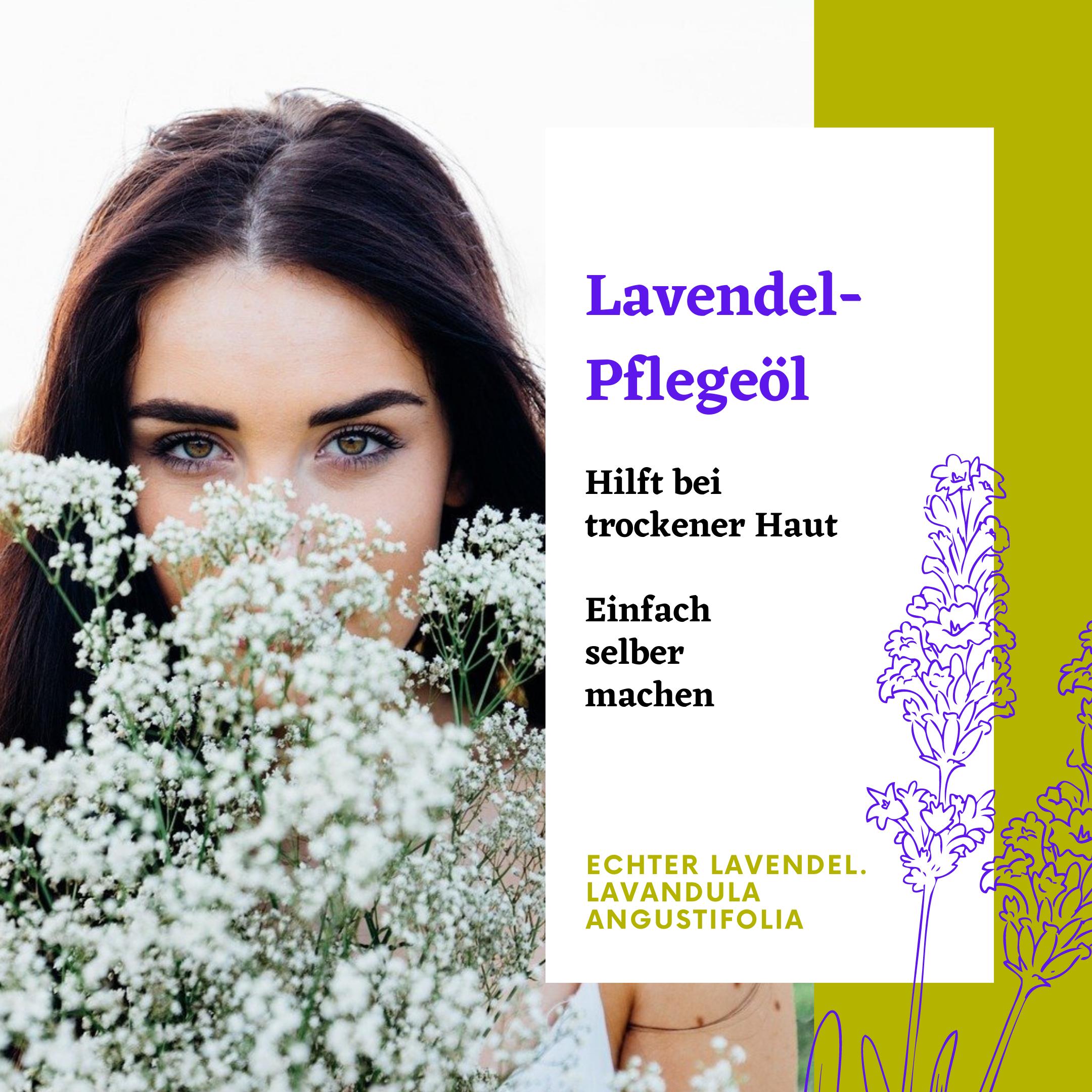 Mädchen auf duftender Blumenwiese. Lavendel-Pflegeöl pflegt trockene Haut