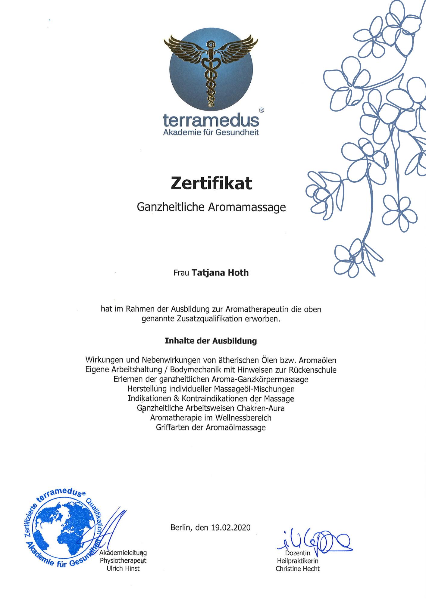 "Zertifikat ""Aromaöl-Massage"", Tatjana Hoth, Wilder Thymian, Aromatherapie und Massagen Berlin"